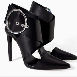 ZARA Black Chunky Buckle Heels Size 40